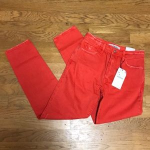 Zara denim red high waisted Mom jeans sz 2 / 34
